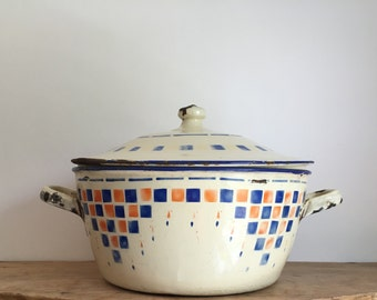 French Vintage Large Patterned Enamel Bowl & Lid
