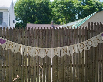 Bienvenidos Sign / Spanish Wedding / Welcome Wedding Sign / Burlap Wedding Sign / Burlap Banner / Rustic Wedding Decor / Welcome Sign