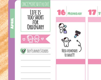 Munchkins - Shaving and Grooming Reminder Planner Stickers (M59)