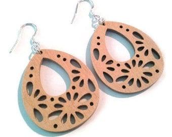 Tear Drop Wood Earrings