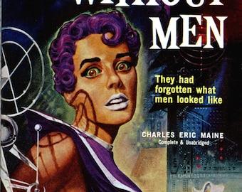 pulp art print World Without Men  —  vintage pulp paperback cover repro
