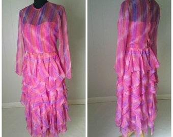 70s Victor Costa Ltd. Sheer Pink Ruffled Dress Size 12