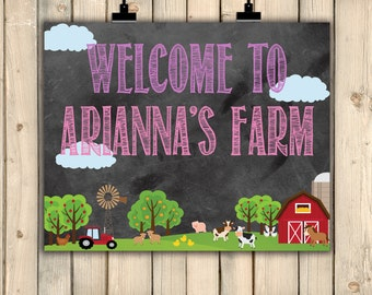 Barnyard Chalkboard Welcome Sign, Farm Birthday Decor, Barnyard Bash, Farm Party, Girl Barnyard Farm Welcome Sign, Old McDonald, Digital