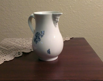 """Vintage Royal Worcester Pitcher - Reproduction of 1760 """"Blue Sprays"""" - England"""