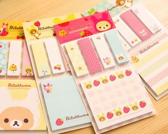 Rilakkuma Sticky Notes / Cute Sticky Notes / Kawaii Sticky Notes / San-X Sticky Notes / Kawaii Bear / Cute Bear / Stationary / Stationery