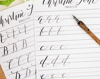 Modern Calligraphy Practice Worksheets | Uppercase and Lowercase Letters | Calligraphy Practice with Sample Letters | Christine Style