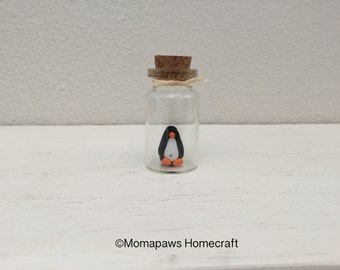 Penguin in a tiny glass bottle, Unique Handmade Ornament unusual OOAK gift, give a different present
