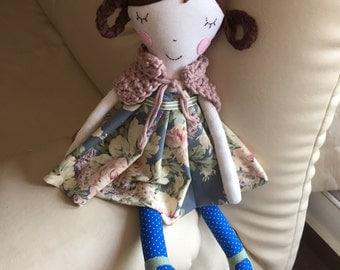 Fabric handmade doll,Rag doll, Handmade Cloth doll, Fabric soft doll,Hanmade doll,Baby Girl gift,Stuffed doll,poupée