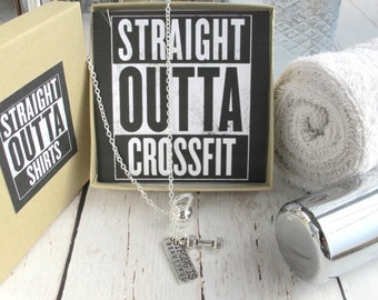 Crossfit Jewelry-Crossfit Necklace- Fitness Motivation-Crossfit Gift-Straight Outta Crossfit Necklace-Fitness Jewelry-Inspirational Necklace