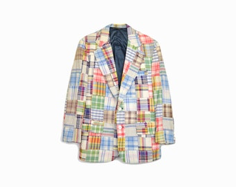 sale! 50% off - Vintage 70s Madras Plaid Blazer Jacket / Preppy Blazer / Cape Cod Jacket - men's medium