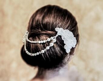 Bridal Lace Headpiece - Melissa - wedding hair jewelry bridal hair accessory wedding accessory bridal headpiece wedding hair jewelry