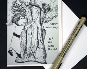 Punny Anniversary Card with Envelope- I got you Florets!