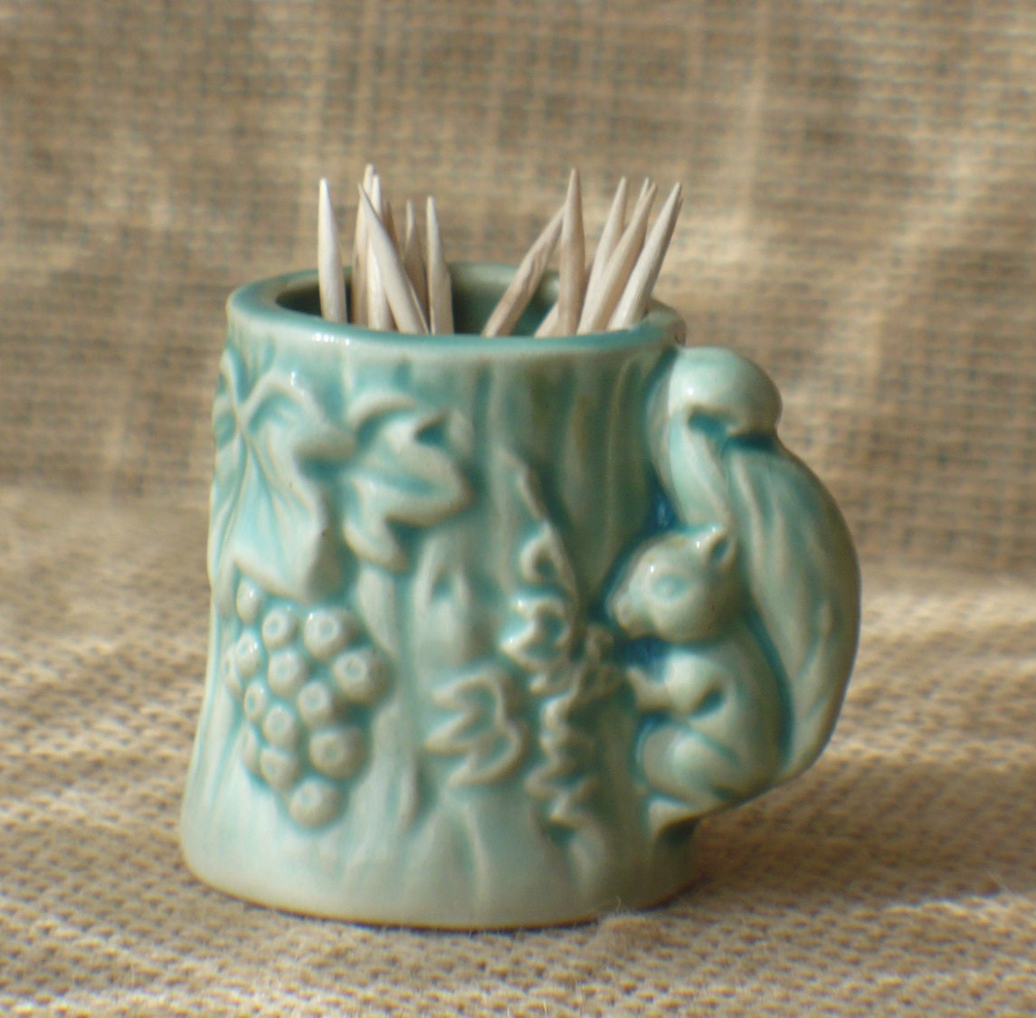 Green Squirrel Toothpick Holder