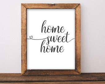 Printable Wall Art, Home Sweet Home printable art, Home art, Home decor, gallery wall, home poster, apartment decor, digital download