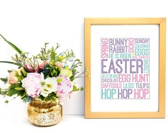 Easter Subway Art, DIGITAL DOWNLOAD, Printable Wall Art, Easter Wall Decor, Typographic Art, Holiday Subway Art, Spring Subway Art