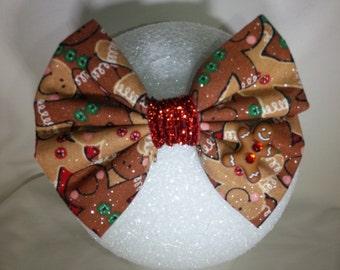 Gingerbread Man Hair Bow - Small