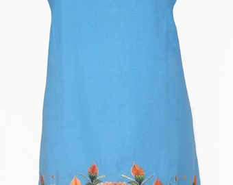 ON SALE Mexican Handmade A-Line Dress, Floral Gradient Embroidery   WAS 158AUD
