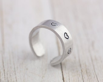 Personalized heart ring, hand stamped, name ring, adjustable silver ring, gift for her, personalized jewelry, secret message, custom ring