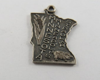 Map of State of Minnesota Sterling Silver Pendant or Charm.