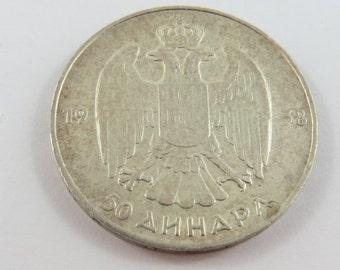 Yugoslavia 1938 Silver 50 Dinara Coin.