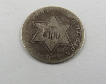 U.S. 1854 Silver 3 Cent Coin Type2