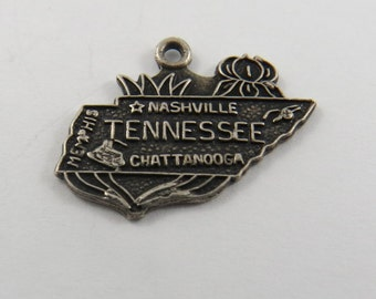 Map of the State of Tennessee Sterling Silver Charm of Pendant.