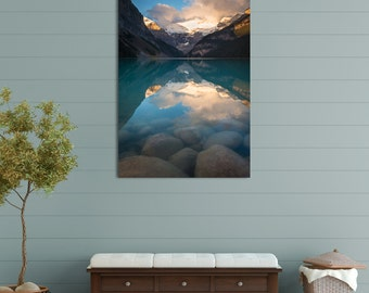 Metal Wall Art, Lake Louise, Banff National Park, Alberta Canada, Canadian Rockies, Sunrise, Rocks, Mountains, Landscape Nature Photography