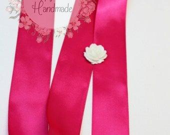 Hot Pink Ribbon, Azalea Pink Ribbon, Magenta Pink Ribbon, Pay Per Yard, 1--1/2 Inch, Double Faced Ribbon, Satin Ribbon, Wedding DIY