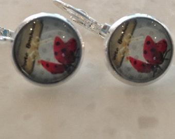 Delicate earrings Lucky Ladybug 12mm