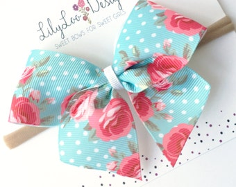 "Charmed Roses // ""Scout"" style bow // Clip or Headband // Babies, Toddlers, Little Girls"