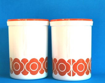 Retro Orange Mod Daisy Flower Power Kitchen Canister - Set of Two Mod Canisters by Decor - Made in Australia