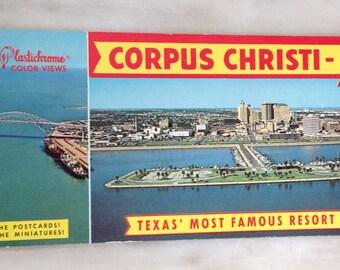vintage Corpus Christi, Texas postcard booklet 20 Plastichrome views Gulf coast album, vintage postcards