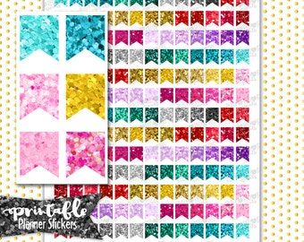 Glitter Flags | PRINTABLE Planner Stickers | Pdf, Jpg, Silhouette Studio V3 Format | ECLP Vertical Planner Stickers