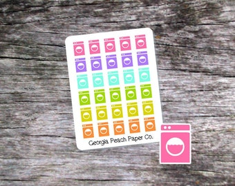 Washing Machine/Laundry Planner Stickers Pastel Colors-Erin Condren Planners/The Happy Planner- Made to fit Vertical Layout