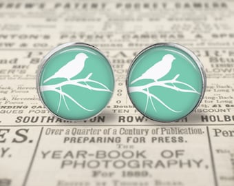 Bird Earrings, Bird Jewelry, 16mm Stud Earrings or Dangle Earrings, Bird Studs, Glass Turquoise Earrings, Animal Jewelry, Bird Silhouette
