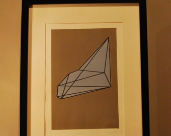 UO #1 - An original abstract handmade screen print. A geometric shape with bold colours.