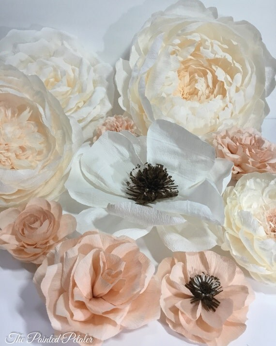 Crepe paper flower anemones hanging flower by for Crepe paper wall flowers