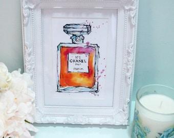Chanel perfume bottle illustration
