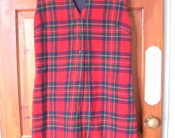 Pendleton wool red tartan tunic short dress jumper vintage size 14