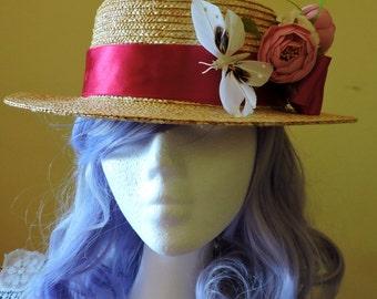 Boater Hat,Romantic Lolita Vintage Hat, Floral Straw Boater, Floral summer straw hat, Edwardian Straw Boater Hat, Wedding Fascinator Hat