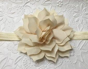 Ivory Petal Blossom on Ivory Elastic Headband (HB-10),Ivory Headband, Ivory Flower Headband, Baby Headband, Girls Headband