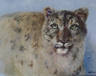 Original Acrylic Painting Snow Leopard Endangered Species US Artist Signed 9x12in. Gallery-Wrapped Canvas Ready To Hang Realism Blue Gift