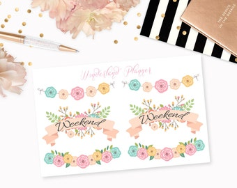 Weekend Floral Banners // Decorative Planner Stickers // Perfect for Erin Condren Vertical Life Planner