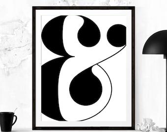 Scandinavian Ampersand Print, Typography, Printable Art, Scandinavian Art, Minimalist Art, Ampersand Print, Scandinavian Modern Art Print