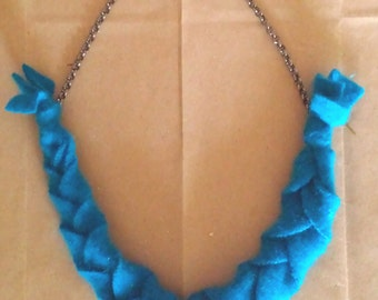 Upcycled Repurposed blue cashmere braided necklace