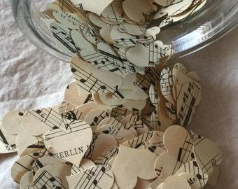 Vintage Sheet Music Heart Shaped Confetti