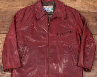 "Mens Vintage 1960's Genuine Horsehide Aero Leather Red Jacket Size L 42"" R2992"