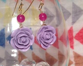 Matte resin flower drop earring