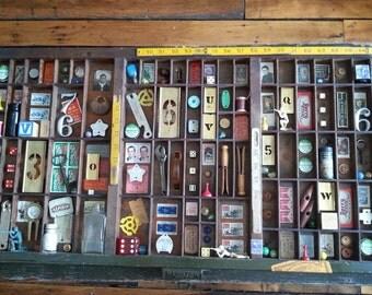Letter box tray #365 - mixed media box assemblage