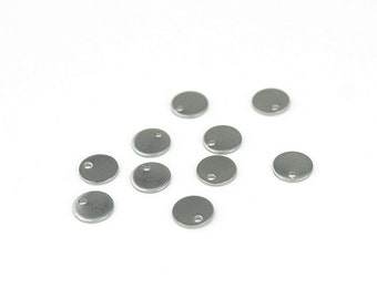 6mm Tiny Circle Charms Stainless Steel Stamping Blanks - 10 Pieces